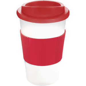 Mug Publicitaire | Americano Thermal Grip Blanc Rouge